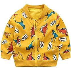 QinMM Manteau à Manches Longues pour garçon (18M-5T) Veste à Manches Longues imprimée Dinosaure pour Enfants Veste Coupe-Vent
