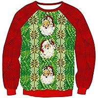 FOOBRTOPOO Novedad Navidad Sudadera con Cuello Redondo de Navidad Sudadera con Estampado navideño de Papá Noel Blusa de Invierno Ropa Interior Tops Jerséis de Deporte de Manga Larga -S