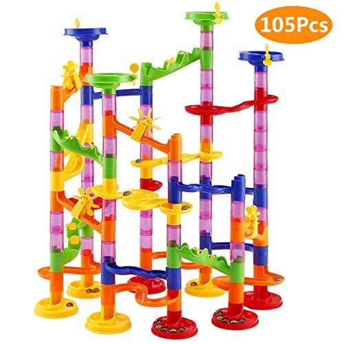 Elover Pista Biglie 105pcs Blocchi Costruttivi Set Marble Run Giocattolo Educativo per Bambini Regalo Perfetto per Bambini per Compleanno Natale