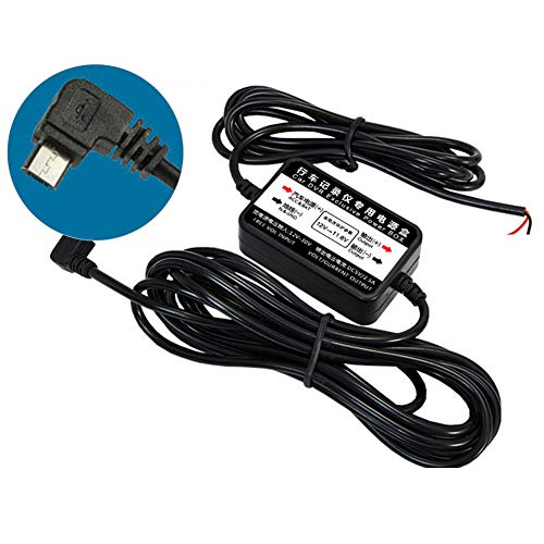 12v Dc Straight Wire (RGTR72 Dashcam Hardwire Kit Micro USB Anschluss, DC 12/24 V zu 5 V, KFZ-Ladekabel, Kabel mit Kabel, Niederspannungsschutz für Armaturenbrett, GPS, 3,2 m, Wie abgebildet, Micro Right Bend)