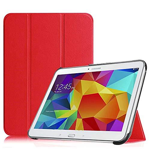 XEPTIO Samsung Galaxy Tab 4 10.1 pollici SM-T530/T535 Rossa Custodia Pelle Ultra Slim - Case Funda Cover protettiva Galaxy Tab 4 10 1 Tablet Wifi/4G/LTE (PU Pelle - Rossa Red) accessori