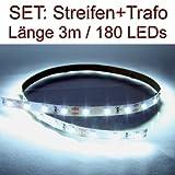 SET LED Strip Streifen WEISS 3 Meter inkl. Netzteil PCB weiss