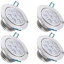 Bay 4x 7W Focos LED Empotrables , Techo Ultra delegado Downlight , Blanco Cálido 2800K 630 Lumen , 90V-285V Equivale 50W , Ra80 IP44 Incluye Transformador