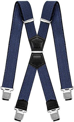 Decalen Hosenträger für Herren mit 4 Starken Clips X Form Lang Eine Größe Passt Alle Verschiedenen Farben (Blau) (Hose Hosenträger Aus)