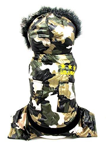 smalllee _ Lucky _ store Kleiner Hund Winter Wasserdicht Trench Coat Camo vierbeinigen Jumpsuit, Armee Grün, Gr. xs