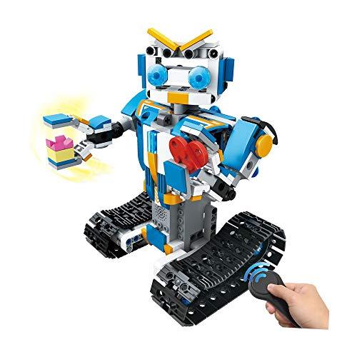 H.eternal Roboter Spielzeug Interaktive Smart Spielzeug Gehen RC Roboter Fernbedienung Elektronisches DIY Building Blocks Spielzeug für Kinder, Jungen, Mädchen Entertainment (Blau)