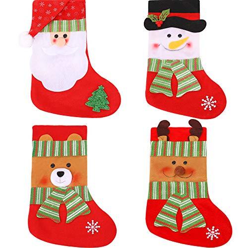 LINGJUN Weihnachtsstrümpfe, Weihnachtsmann, Schneemann, Bär, Elch Stil für Weihnachten, Abend, Kinder (Mini Strümpfe Bulk)