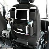 GutReise PU Leather Car Organizer Convenient Multi-Pockets Seat Hanging Bag Vehicle Travel Storage Car Seat Holder Bag (black)