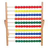 Backbayia Holz 10 Row Portable Abakus Lernspielzeug Montessori Mathematik Spielzeug für Kinder - 34x37.6cm