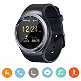 CanMixs Smartwatch Y1 Bluetooth Smart Watch per Android,Rotondo Orologio con Slot SIM e TF Carta,Touch Screen,Pedometro,Sleep Moniter, SMS per Android e IOS, iPhone, Samsung, Huawei, Xiaomi, HTC, LG
