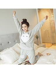 &zhou pijamas mujer ocio mantenga flojo invierno cálido gruesas pijamas hogar ropa , gray , l