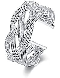 NYKKOLA - Precioso brazalete abierto en plata de ley con diseño de malla