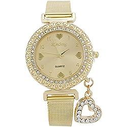 New Arrival Golden Watch Women Rhinestone Watch Women Fashion Heart Charm Quartz Watch