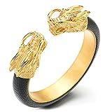 COOLSTEELANDBEYOND Elastische Verstellbare Herren Edelstahl Gold Drachen Armband Armreif Intarsien mit Schwarze Leder