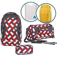 Satch Sac à dos scolaire Set de 5accessoires avec Sleek Chaka Bricks 9D7Rectangle Rouge/Blanc