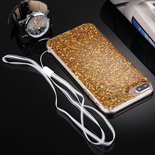 YAN Für iPhone 7 Plus Twinkling Paillette Beschichtung Soft TPU Schutzhülle mit 43cm Schlinge ( Color : Blue ) Gold