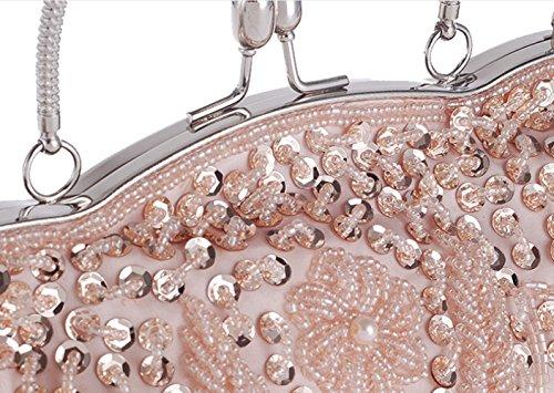 MMYOMI Borsa trasversale del sacchetto di promenade del partito di cerimonia nuziale del Sequin della frizione di sera di ricamo del fiore dell'annata Oro