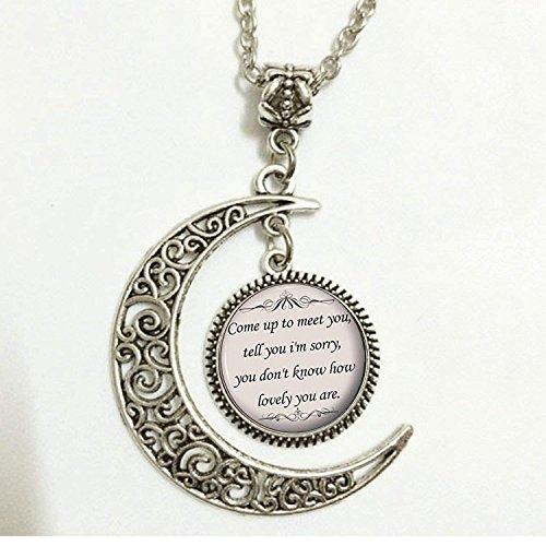 Songtext Zitat, Charm, Crescent Moon Zitat Halskette, Musik Anhänger, Silber niedliche Schmuck, Geschenk für Frauen und Mädchen (Niedliche Halloween Outfits Für Frauen)
