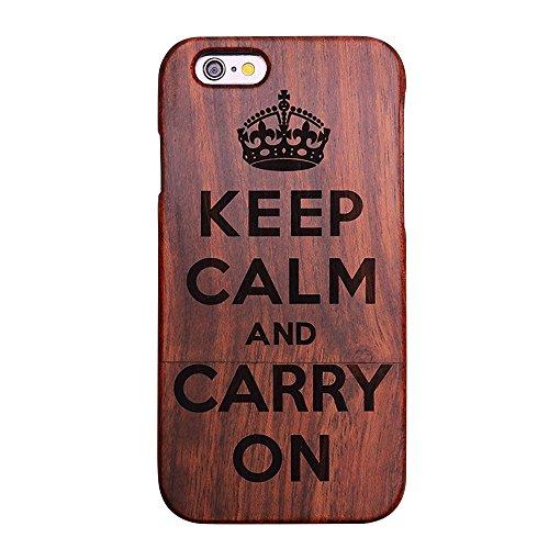 Forepin® Natur Holz Wood Hülle Handyhülle Echtem Schutz Schale Hart Cover Case Etui für iPhone 5 5S SE 4.0 Zoll - Wolf Wörter
