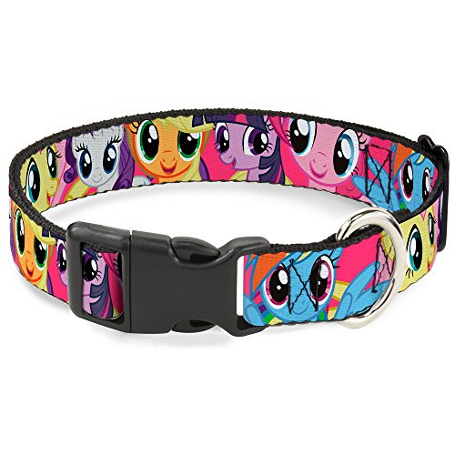 buckle-down-ponies-closeup-fuchsia-plastic-clip-collar-medium-11-17
