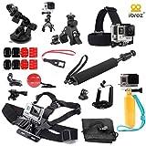 iBroz® - Ultimate Pack de Accesorios 16 en 1 para la camera GoPro - Palillo Extendible par Selfie + Arnés para el pecho (chesty) + Correa para la cabeza + Soporte para barra, Manillar, Sillín + Soporte con ventosa de coche + Flotante palo de mano con correa de muñeca + J-Hook Adaptador de montaje, Bases planas y curvas para (casco) para todas las cámaras GoPro Hero 4, 3+, 3, 2, 1, Nilox F60, TecTec XPro etc..