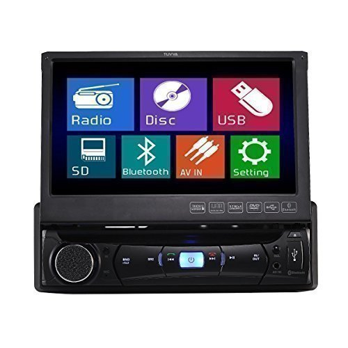 single din car stereo amazon co uk tuvva ksd7843b in dash car multimedia receiver 1 din 7 inch motorized touchscreen dvd cd usb aux in mp4 mp3 player rds radio bluetooth audio
