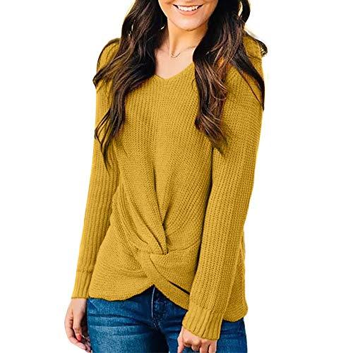 MIRRAY Damen Langarm O Hals Sweater Solide Krawatte vorne Strickpullover Pullover schwarz Wine grün gelb lila