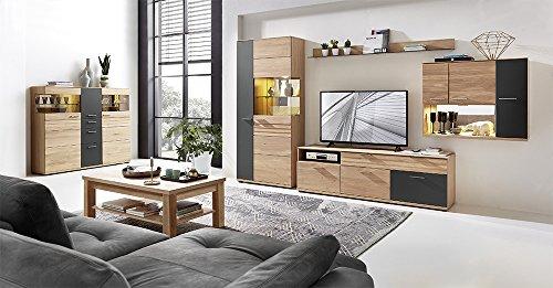 Wohnzimmerschrank, Wohnwand, Schrankwand, Anbauwand, Fernsehwand, Wohnzimmerschrankwand, Wohnschrank, Wildeiche, Graphit, Hochglanz, Beleuchtung - 3