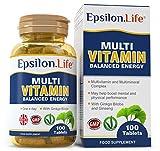Epsilon Complejo Multivitaminas con Minerales - 100 Comprimidos - Fórmula Equilibrada Para Aumentar la Energía y la Vitalidad - Multivitamínico - Polivitamínico - Vitaminas