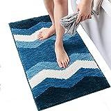 Bvc Einfache Streifen Teppiche, 45×65Cm Saugfähige Rutschfeste Teppich Für Wohnzimmer/Home / Schlafzimmer,Blue