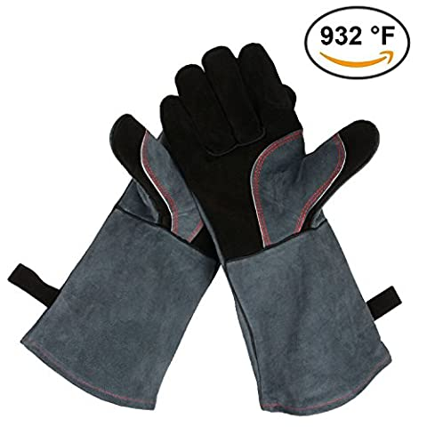 OZERO Leather Barbecue BBQ Gloves, 932°F Extreme Heat Resistant Oven