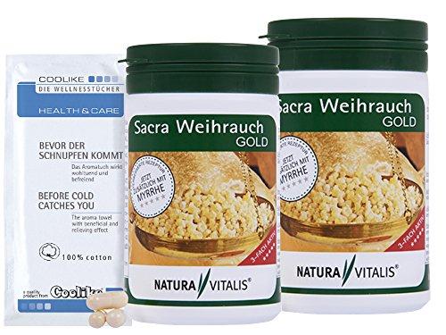 Myrrhe, Weihrauch (Natura Vitalis 2x200 Kapseln Sacra Weihrauch mit Myrrhe + Coolike Tuch)