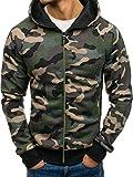BOLF Herren Kapuzenpullover mit Reißverschluss Sweatshirt Military-Muster Camo Army RED Fireball W1379 Grün L [1A1]