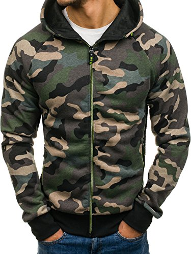 BOLF Herren Kapuzenpullover mit Reißverschluss Sweatshirt Military-Muster Camo Army RED Fireball W1379 Grün XXL [1A1] -