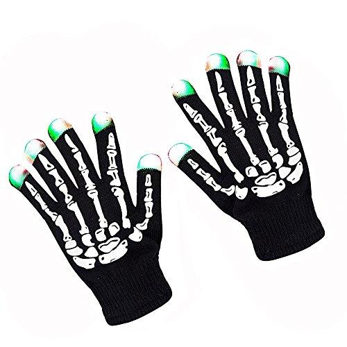 LED Leuchten Skelett Handschuhe Kleidung Zubehör Show Prop Spielzeug für Geburtstag Party Festival (Magie Stricken Handschuhe)