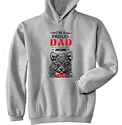 Teesquare1st Men's POMERANIAN - IM A PROUD DAD Grey Hoodie