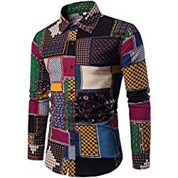LMMVP Camisa de Hombre Casual Manga Larga Negocio Ajustado Botón Formal Retro Impresión Blusa Tops Camiseta para Hombre (XL