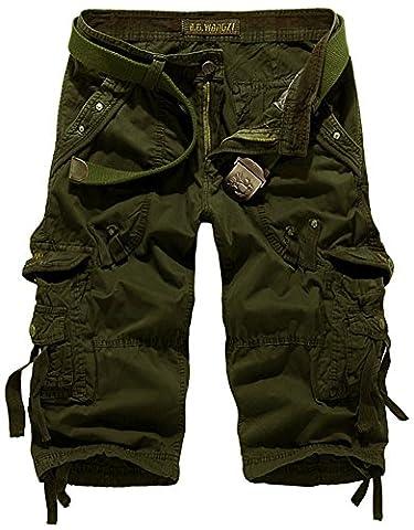 Mochoose Men's Summer Casual Cotton Twill Cargo Shorts 3/4 Multi Pockets Outdoor Wear Pants(Army Green,32)
