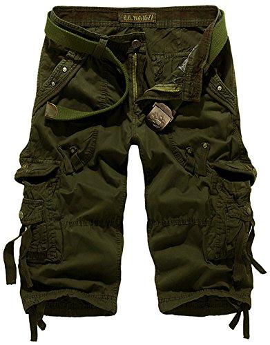 Herren Twill Cargo (Mochoose Herren Sommer Casual Cotton Twill Cargo Shorts 3/4 Multi Taschen Outdoor tragen Hosen(Armeegrün,34))
