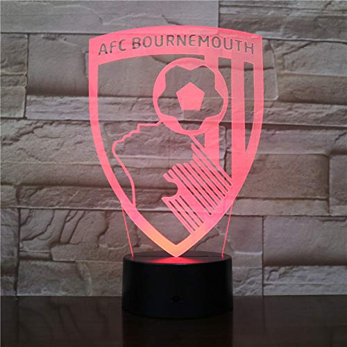 3D Night Light Bournemouth Football Club (Interruptor Táctil) 3D Led Usb 7 Color Niño Bebé Mesita De Noche Dormitorio Lámpara De Escritorio Festival Novio Regalo