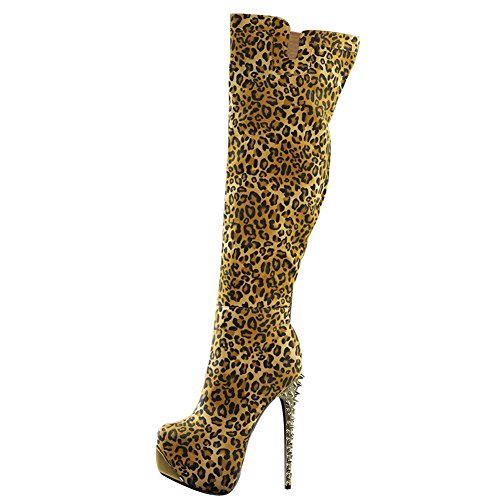 Onlymaker Damenshuhe High Heels Knie Hoch Animal Print Stiefel Leopard