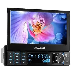 """Xomax XM-VRSUN728Autoradio/Moniceiver/avec GPS + Logiciel avec livre de cartes d'Europe (38Pays) + fonction mains libres Bluetooth - importation annuaire + écran tactile 7""""/18cm + Port USB + carte SD + Aux in + Single DIN/1DIN - Taille de montage standard avec télécommande, cadre de montage"""