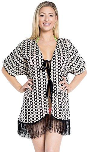 La Leela 4 in 1 spiaggia del cotone leggero partito annata superiore abito kimono scrollata cardigan vestito corto mantello costume da bagno casuale stile boho rubato signore coulisse coprire crema