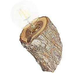 LSLVKEN Creative Edison E27 Tronc d'arbre Applique Européenne Simplicité Européenne Applique en Bois Américain Chambre Chevet Lanterne Murale Intérieur Nordique Allée Applique