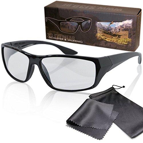 Schleiter & Jauernig SJ3D Passive 3D Brille - Sportlich geschnitten, leichtes Gestell - Polfilterbrille zirkular polarisiert - Für RealD 3D Kino & TV - Inkl. Mikrofaser Brillenbeutel und Putztuch