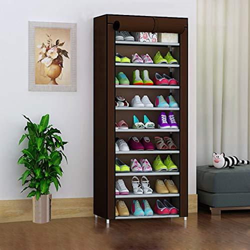 UKAILAI - Zapatero de 10 Niveles con Cubierta para hasta 30 Pares de Zapatos, Zapatero, Organizador...