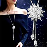 Elistelle Women Cubic Zirconia Flower Long Adjustable Chain Pendant Sweater Necklace