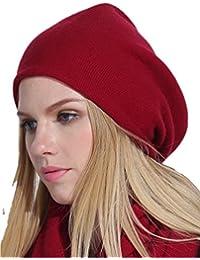 Prettystern - LUXUS 2-fädige reine Kaschmir Wolle feinste Fasern unifarbe Beanie Mütze - 6 Farben