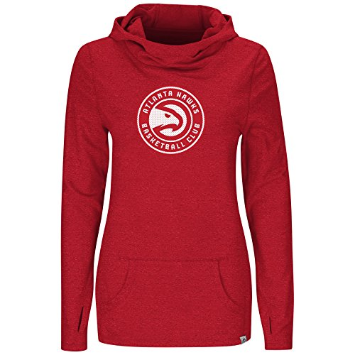 VF Majestic NBA Damen Kapuzenpullover We Play to Win Cowl Neck, rot, Medium Nba-damen Sweatshirts