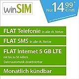 winSIM LTE All 5 GB Allnet Flat [SIM, Micro-SIM und Nano-SIM] monatlich kündbar (FLAT Internet 5 GB LTE mit max. 50 MBit/s mit deaktivierbarer Datenautomatik, FLAT Telefonie, FLAT SMS und FLAT EU-Ausland, 14,99 Euro/Monat)